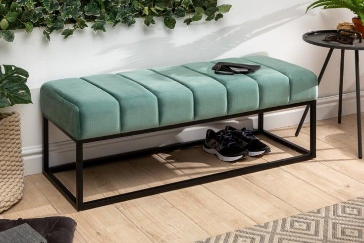 Elegante Sitzbank PETIT BEAUTÉ 108cm mint Samt schwarzes Gestell