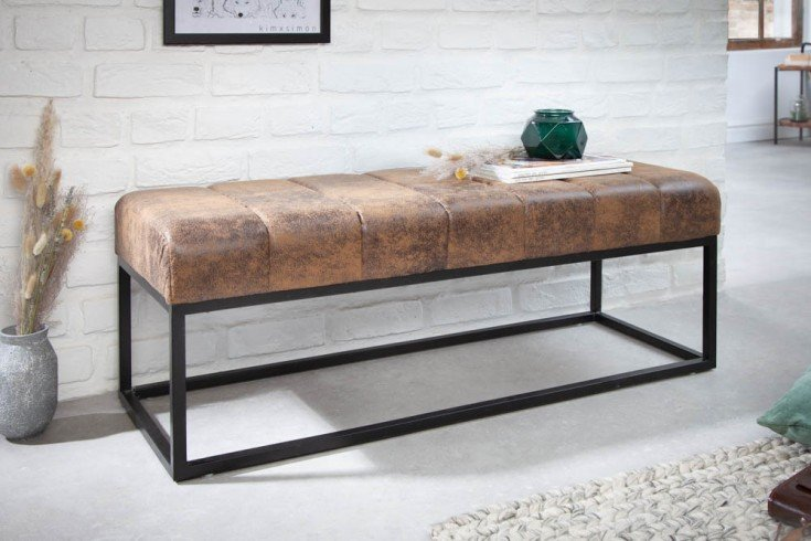 Elegante Sitzbank PETIT BEAUTÉ 108cm antik braun schwarzes Gestell