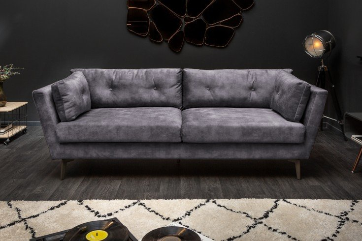 Elegantes 3er Sofa MARVELOUS 220cm grau Samt 3-Sitzer inkl. Kissen