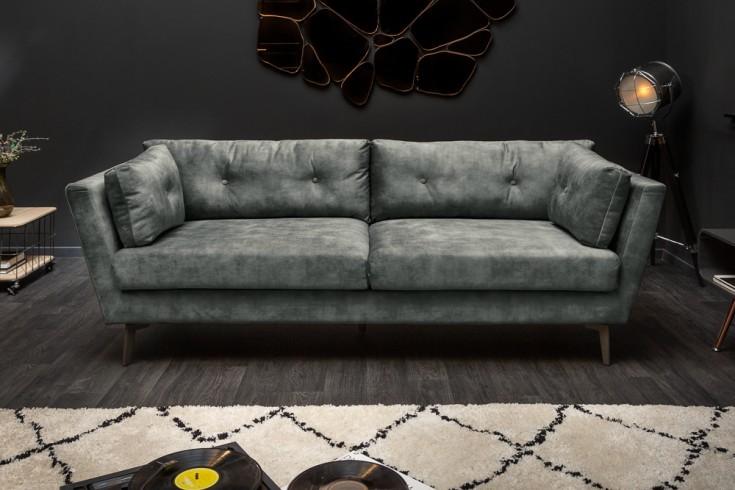 Elegantes 3er Sofa MARVELOUS 220cm dunkelgrün Samt 3-Sitzer inkl. Kissen