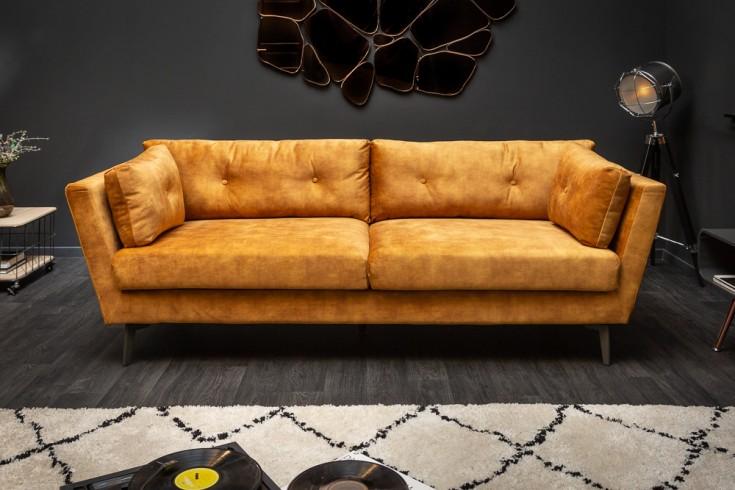 Elegantes 3er Sofa MARVELOUS 220cm senfgelb Samt 3-Sitzer inkl. Kissen