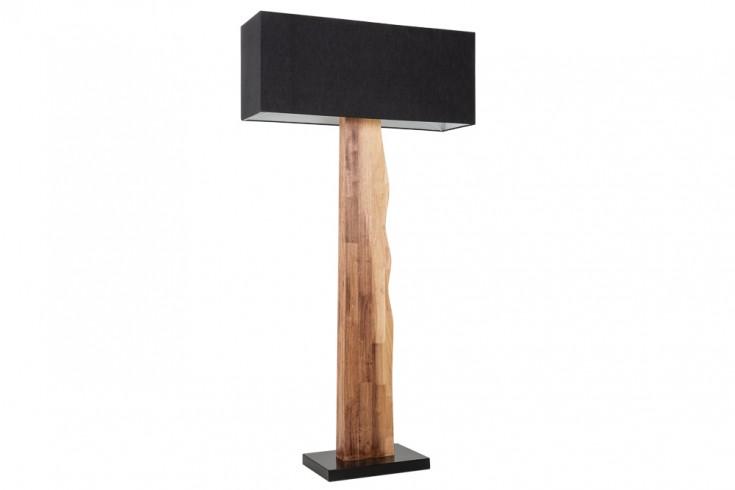 Natürliche Stehlampe ORGANIC LIVING 162cm schwarz Massivholz mit Leinenschirm