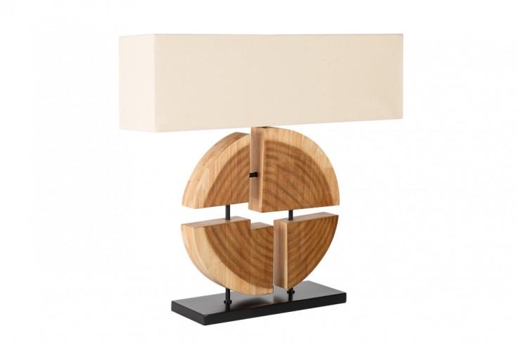 Design Tischlampe ORGANIC ARTWORK 80cm Massivholz mit Leinenschirm