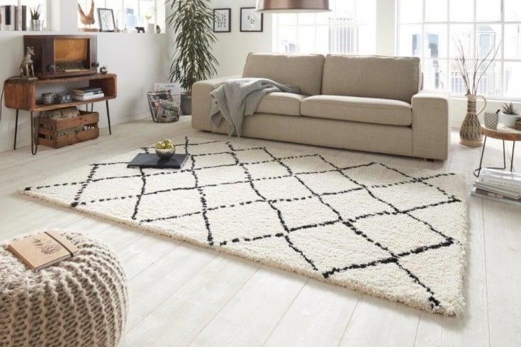 Scandinavian Hochflor Teppich EUPHORIA 230x160cm beige schwarz Rautenmuster