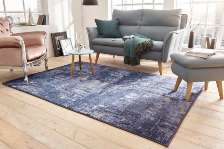 Design Teppich MODERN ART 240x160cm blau beige verwaschen Used Look