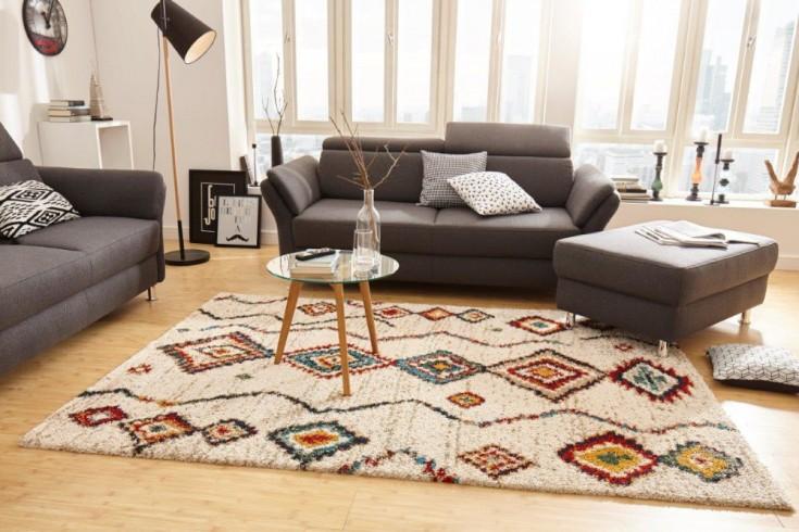 Farbenfroher Hochflor Teppich ETHNO 230x160cm beige rot mit Ethno-Muster