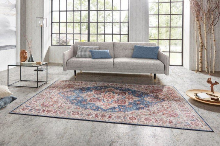 Vintage Teppich CASABLANCA 230x160cm rot blau florales Perser-Muster
