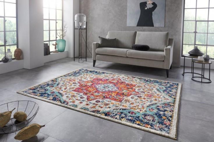 Vintage Teppich MARRAKESCH 230x160cm blau orange florales Perser-Muster