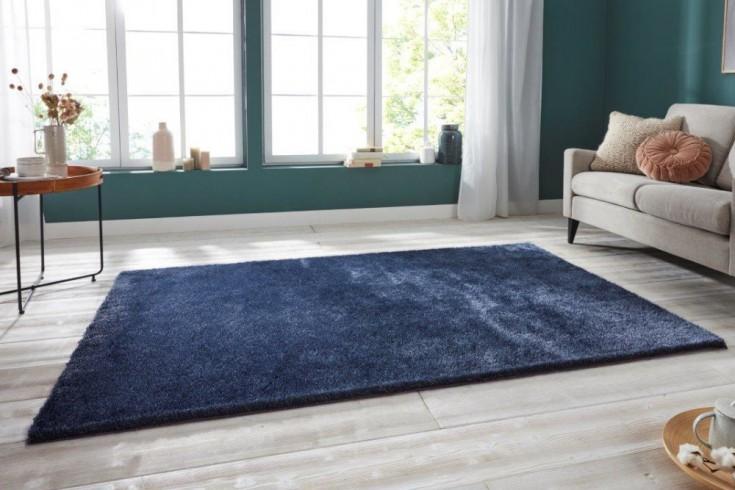Eleganter Design Teppich PURE UNIQUE 230x160cm dunkelblau Hochflor