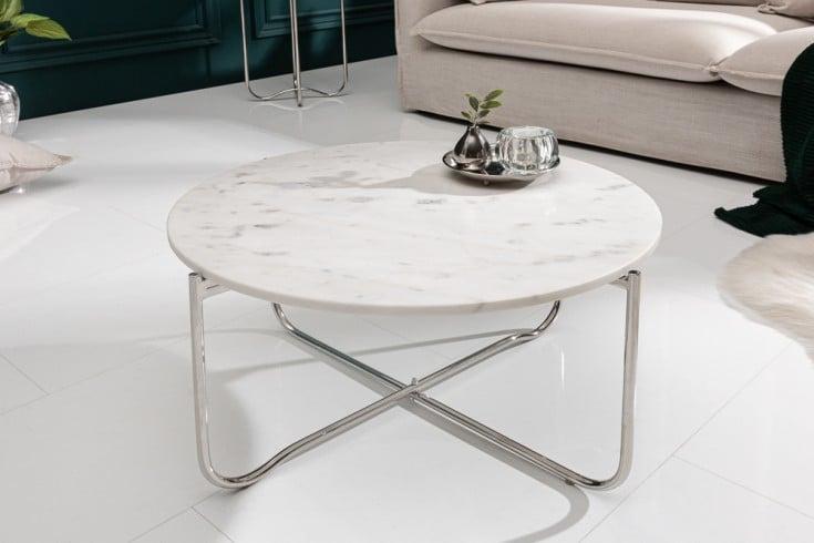 Handgearbeiteter Couchtisch NOBLE 62cm weiß abnehmbare Marmor-Platte