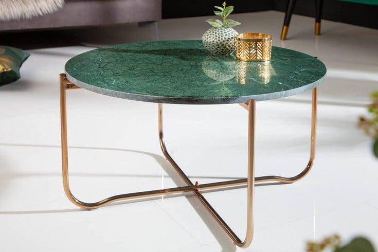 Exklusiver Couchtisch NOBLE 62cm grün echter Marmor hochwertig verarbeitet