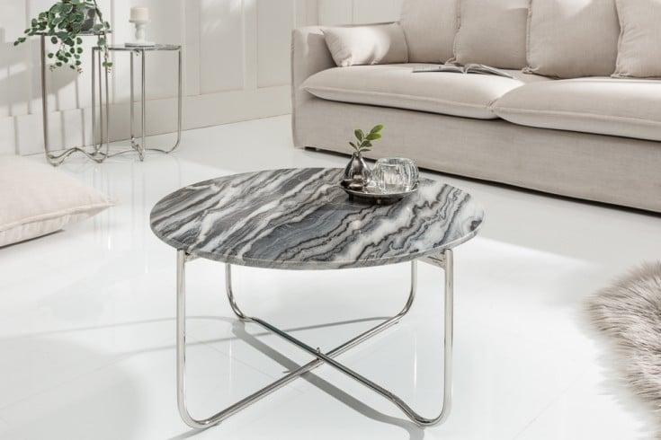 Handgearbeiteter Couchtisch NOBLE 62cm grau abnehmbare Marmor-Platte