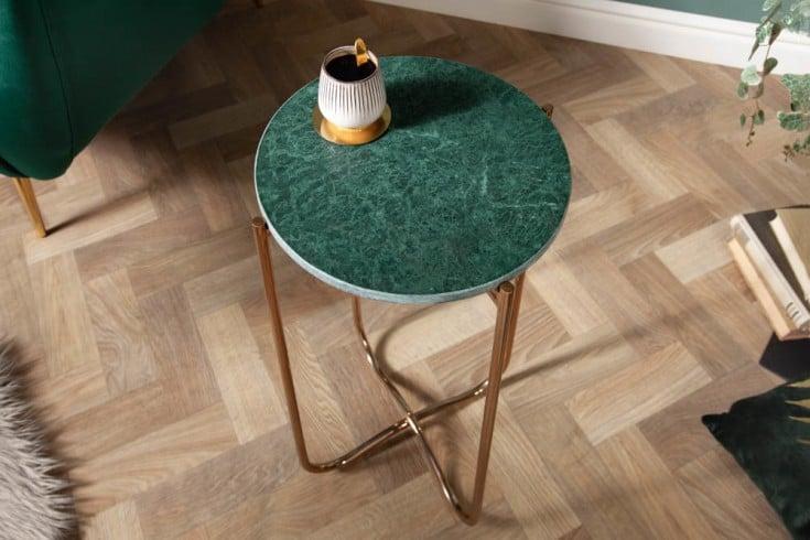 Handgearbeiteter Beistelltisch NOBLE I 35cm grün abnehmbare Marmor-Platte