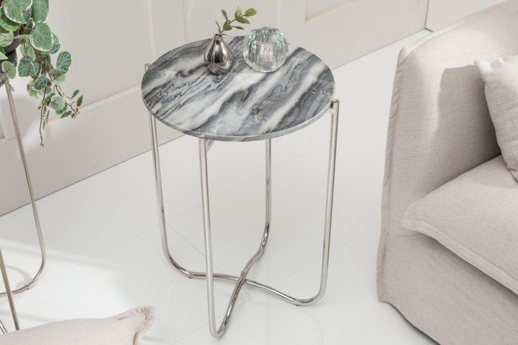 Handgearbeiteter Beistelltisch NOBLE II 38cm grau abnehmbare Marmor-Platte