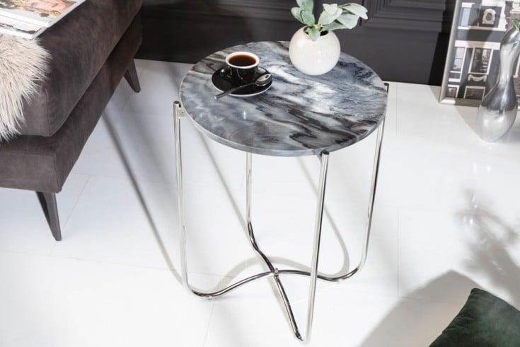Exklusiver Beistelltisch NOBLE III 43cm grau echter Marmor hochwertig verarbeitet