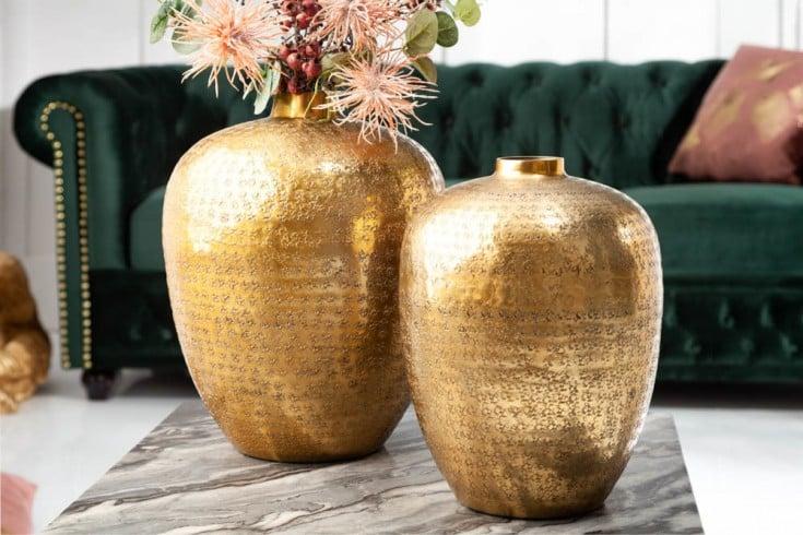 Elegantes Vasen 2er Set ORIENTAL 33cm gold in Handarbeit verziert