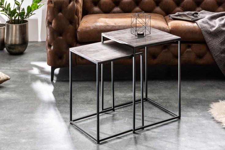 Handgearbeitetes Beistelltisch 2er Set ELEMENTS 40cm silber schwarz Couchtisch