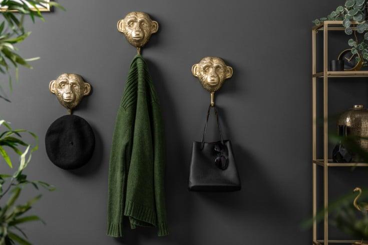 Extravagantes Kleiderhaken 3er Set THREE APES 25cm gold Handarbeit