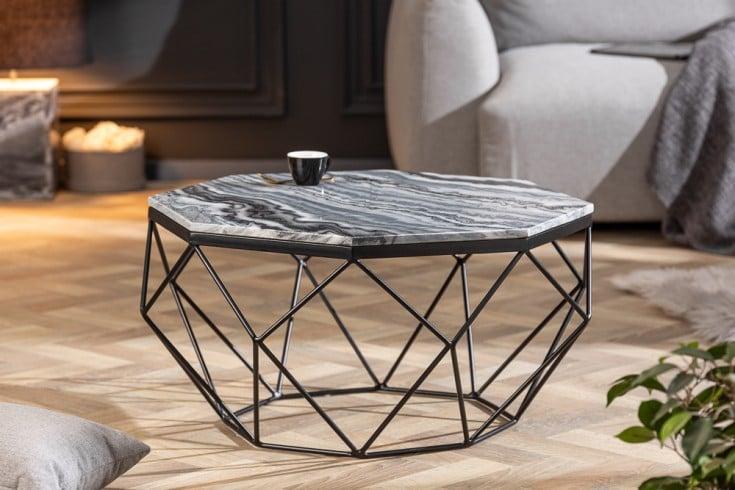 Eleganter Couchtisch DIAMOND 70cm grau schwarz mit Marmorplatte