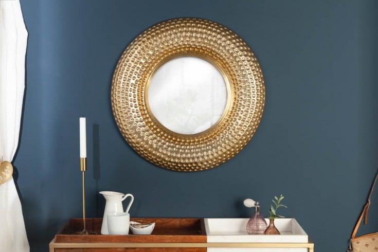 Handgearbeiteter Wandspiegel ORIENT 60cm gold Hammerschlag Design