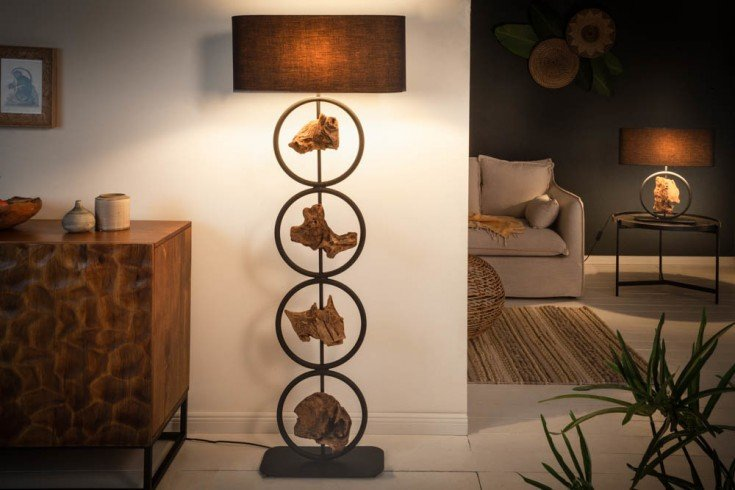 Design Stehlampe ELEMENTS 147cm schwarz Baumwollschirm Fuß mit Akazienholz