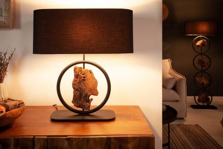 Design Tischlampe ELEMENTS 58cm schwarz Baumwollschirm Fuß mit Akazienholz