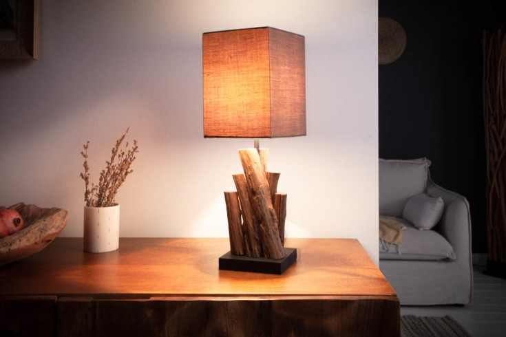Handgefertigte Tischlampe PURE NATURE 45cm Eisenholz mit Baumwollschirm