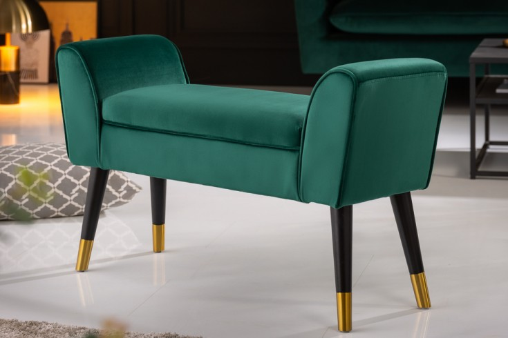 Elegante Sitzbank SCARLETT 90cm smaragdgrün Samt mit Armlehnen