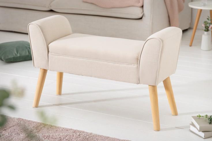 Elegante Sitzbank SCARLETT 90cm beige mit Armlehnen