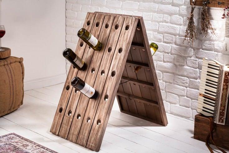 Shabby Chic Flaschenregal BODEGA 91cm Tanne Flaschenhalter für 50 Flaschen
