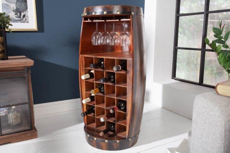 Shabby Chic Weinregal BODEGA 97cm coffee Weinfass für 24 Flaschen