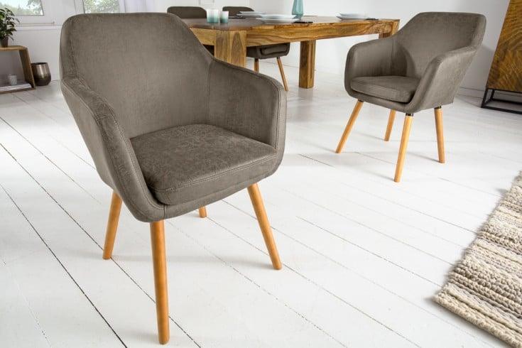 Design Armlehnen Stuhl SUPREME vintage taupe mit Massivholzbeinen