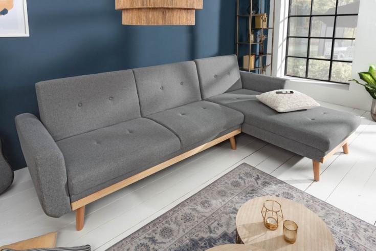 Design Ecksofa SKAGEN 265cm anthrazit Scandinavian Design Bettfunktion