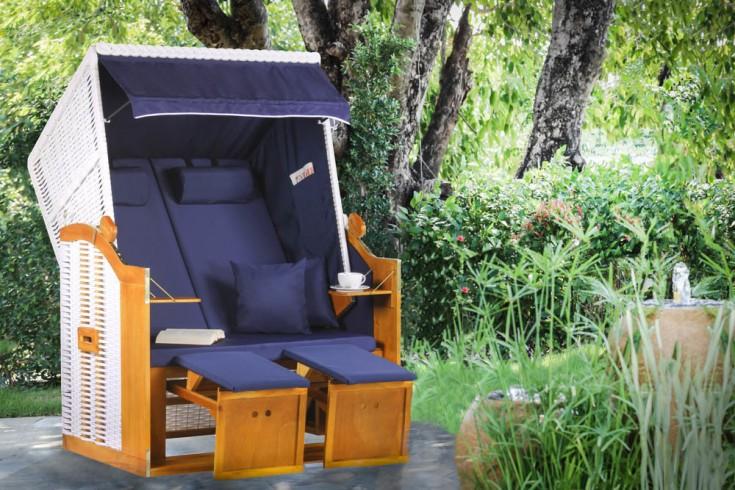 Komfortabler Strandkorb OSTSEE 118cm blau weiß inkl. Wechselbezug und Kissen