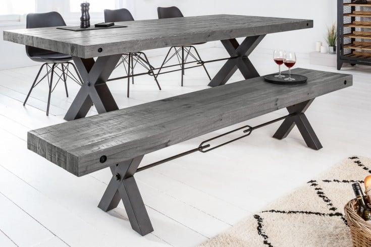Massive Sitzbank THOR 200cm grau recyceltes Pinienholz im Industrial Design