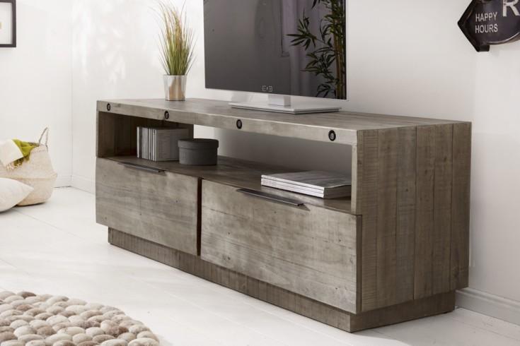 Massives TV-Lowboard FINCA 150cm grau recyceltes Pinienholz Industrial Design