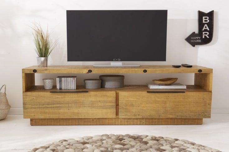 Massives TV-Lowboard FINCA 150cm natur recyceltes Pinienholz Industrial Design
