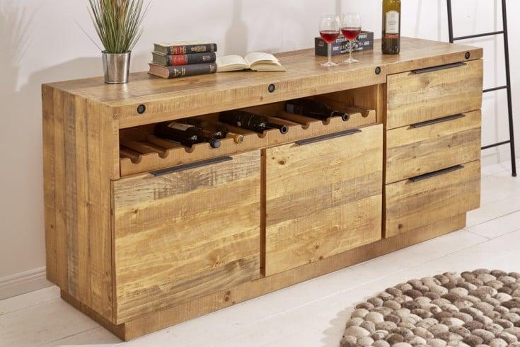 Massives Sideboard FINCA 175cm natur Pinienholz Industrial Design mit Flaschenhalterung