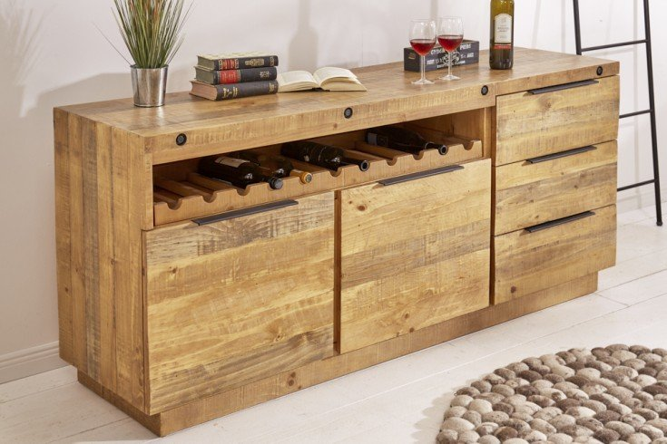 Massives Sideboard FINCA 175cm natur recyceltes Pinienholz Industrial Design mit Flaschenhalterung