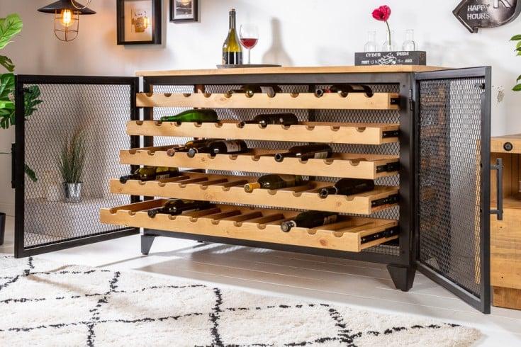 Industrial Weinschrank BODEGA 127cm Pinienholz natur Weinregal für 55 Flaschen
