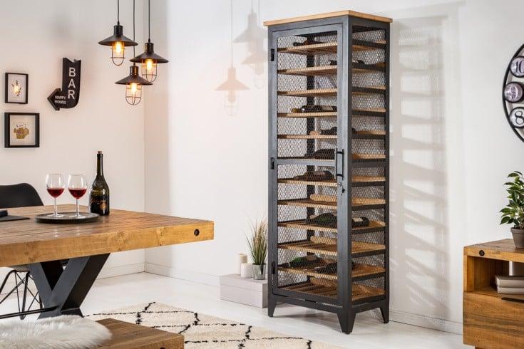 Industrial Weinschrank BODEGA 184cm Pinienholz natur Weinregal für 72 Flaschen