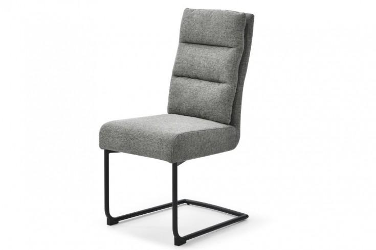 Moderner Freischwinger Stuhl COMFORT vintage grau mit schwarzem Metall-Gestell