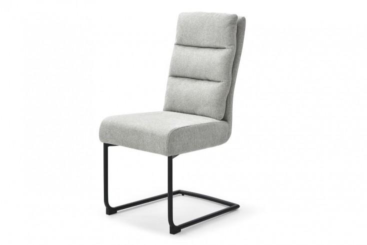 Moderner Freischwinger Stuhl COMFORT vintage hellgrau mit schwarzem Metall-Gestell