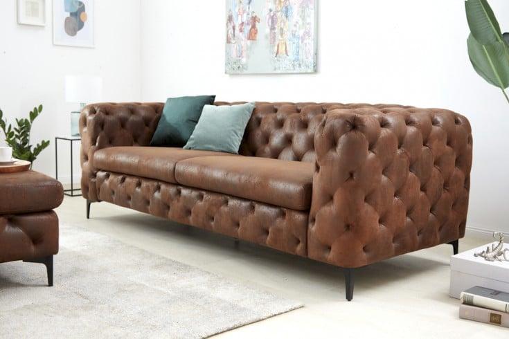 Elegantes Chesterfield 3er Sofa MODERN BAROCK 240cm antik braun
