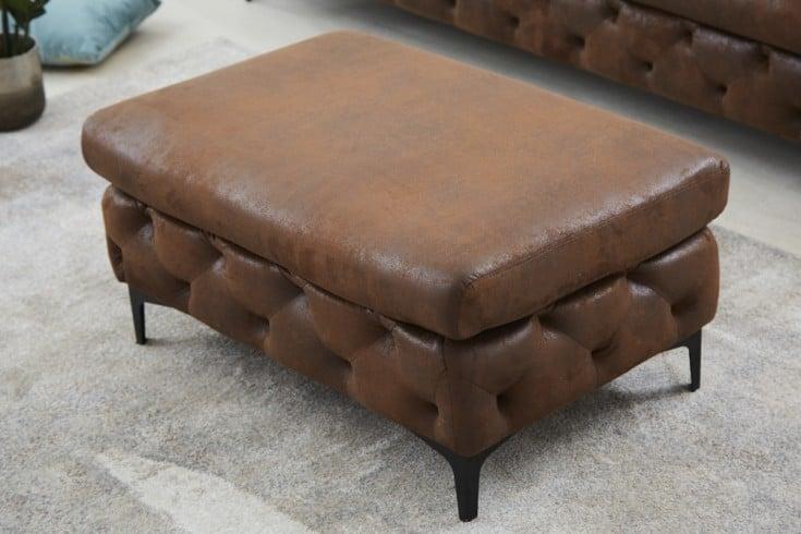 Chesterfield Sitzhocker MODERN BAROCK 90cm antik braun Fußhocker