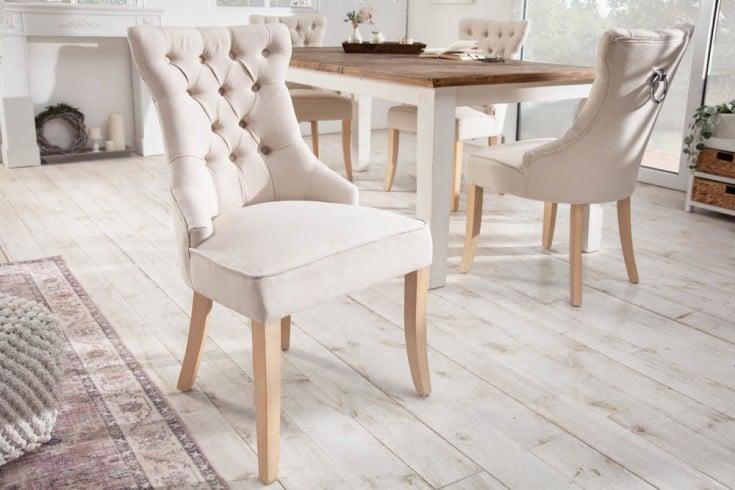 Eleganter Stuhl CASTLE beige Leinenstoff Landhausstil mit Komfortgriff