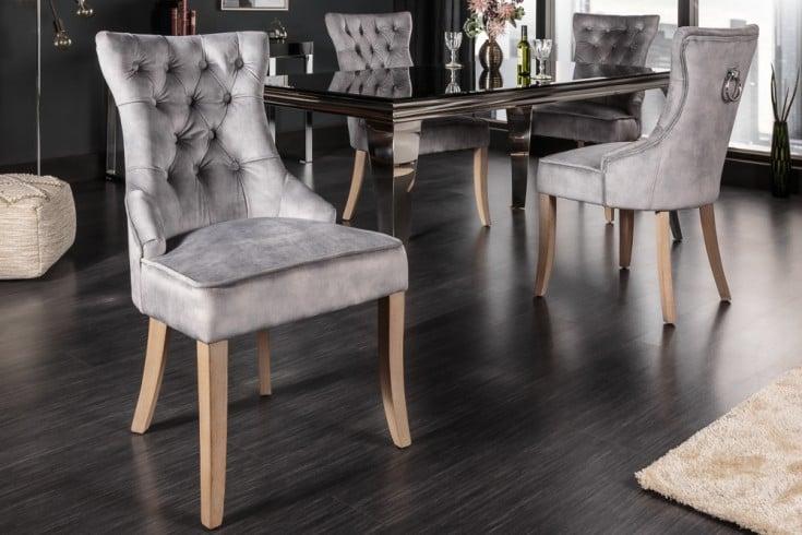 Eleganter Stuhl CASTLE grau Samt Landhausstil mit Komfortgriff