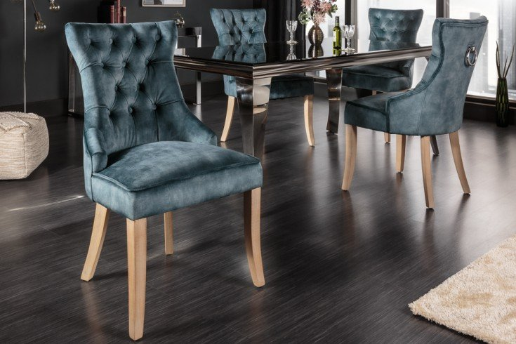Eleganter Stuhl CASTLE petrol Samt Landhausstil mit Komfortgriff