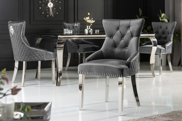 Eleganter Stuhl CASTLE grau Samt mit Löwenkopf im Barock Design