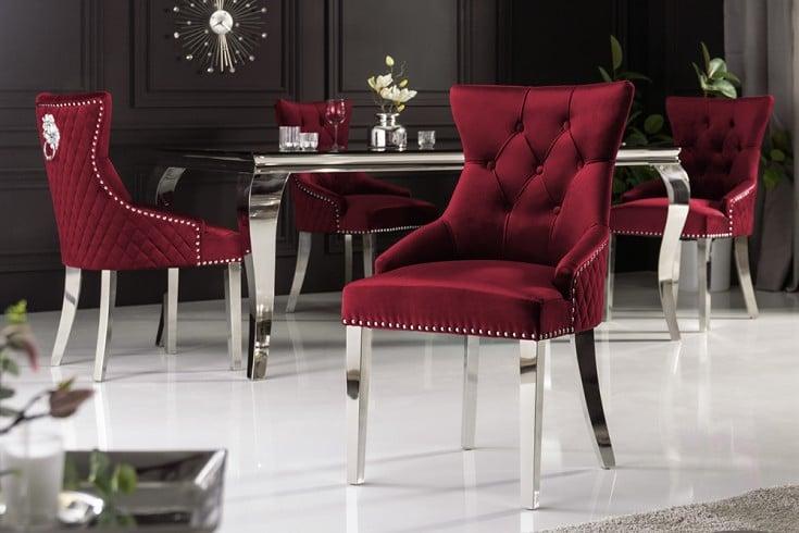 Eleganter Stuhl CASTLE rot Samt mit Löwenkopf im Barock Design